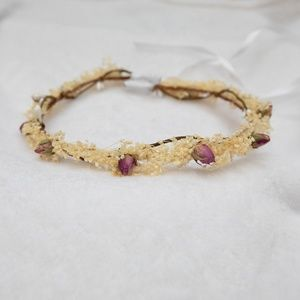 Real Dried Roses Babys Breath Wreath Crown